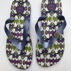 UGG rubber flip flops, 7, purple cream and green